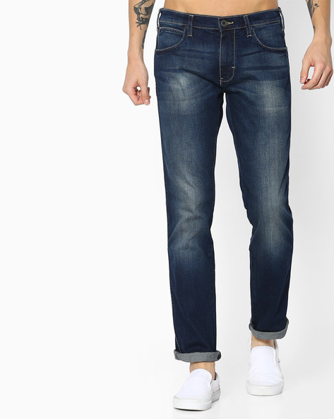 Lightly Washed Straight Fit Jeans By WRANGLER ( Blue )