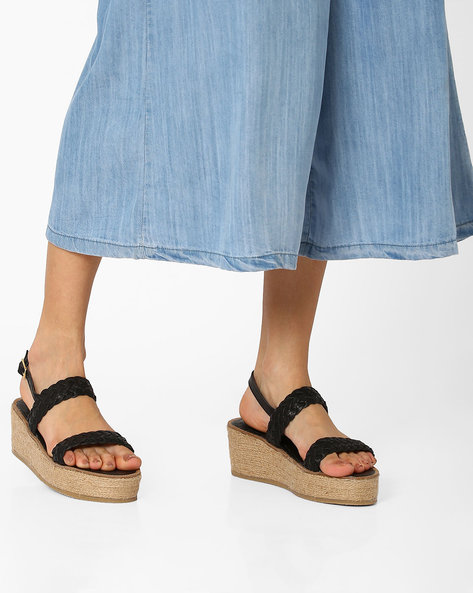 Strappy Wedges With Buckle Closure By AJIO ( Black )