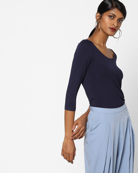 Knitted Viscose Top By CODE By Lifestyle ( Navy )