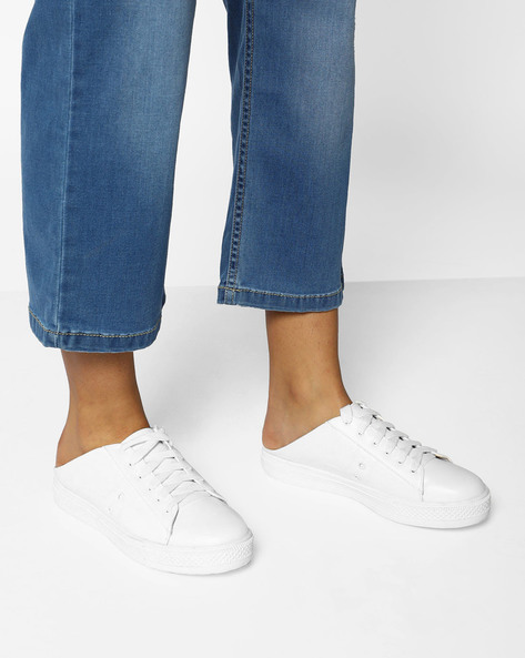 Casual Slip-Ons With Lace-Ups By AJIO ( White )