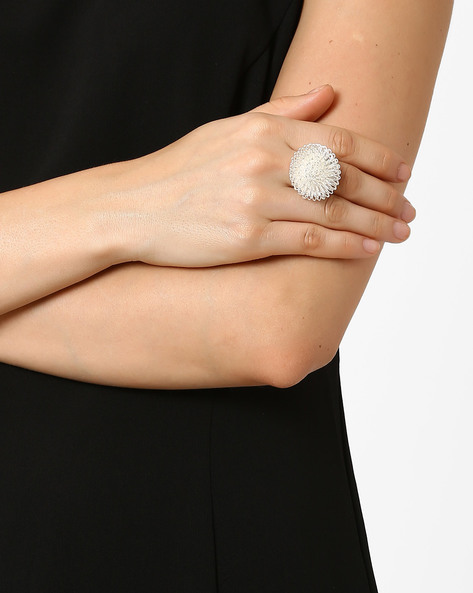 Cocktail Ring By Style Fiesta ( Silver )