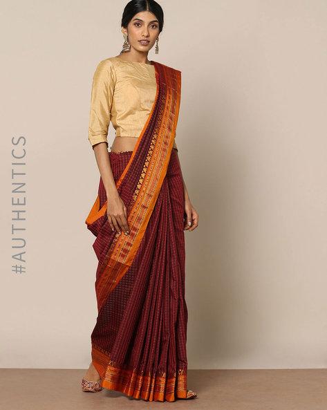 Cotton Silk Ilkal Saree With Zari Border By Indie Picks ( Maroon )