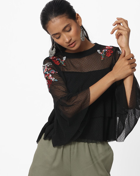 Tiered Top With Placement Embroidery By Ginger By Lifestyle ( Black )