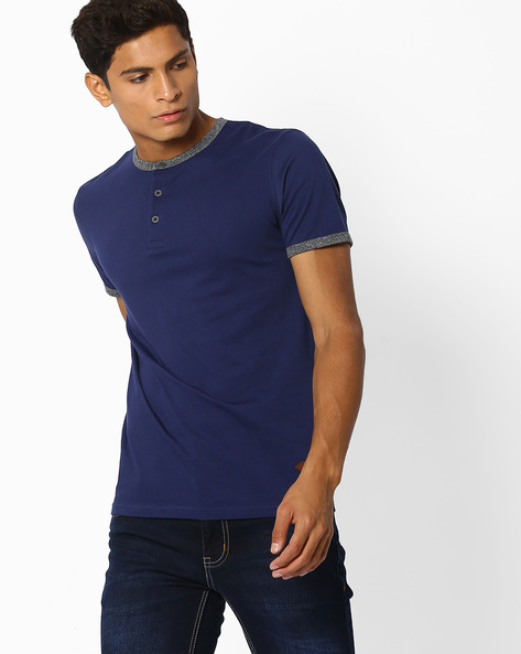Henley T-shirt With Contrast Trims By DNMX ( Blue )