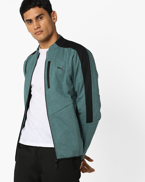 Front-Zip High-Neck Jacket By Puma ( Blue )