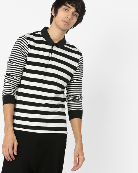 Striped Long-Sleeve Polo T-shirt By LEVIS ( Black )