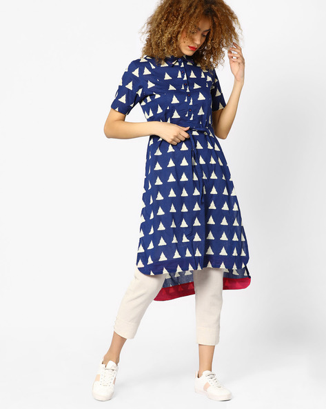 Printed High-Low Shirt Dress By AJIO ( Blue )