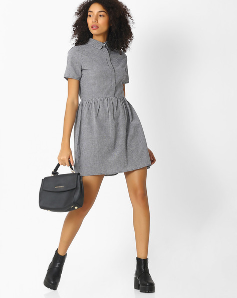 Checked Fit & Flare Dress By Femella ( Black )