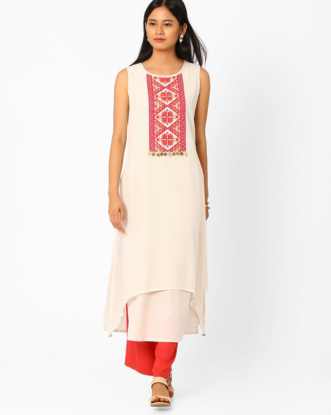 Layered Kurta With Embroidered Yoke By Global Desi ( Cream )
