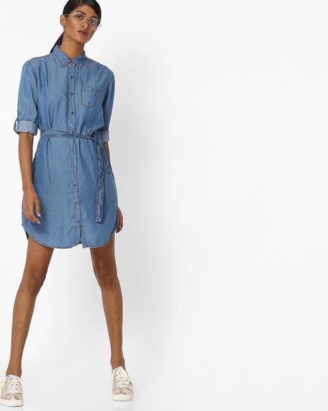 Denim Shirt Dress With Roll-Tab Sleeves By AJIO ( Darkblue )