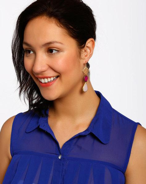Gold-Plated Dangler Earrings By Shabnam Gitanjali ( Pink ) - 460012336001
