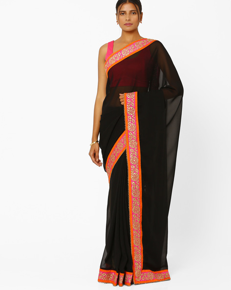 Designer Georgette Saree By RCPC ( Black )