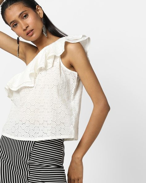 Ruffled One-Shoulder Schiffli Top By Only ( White )