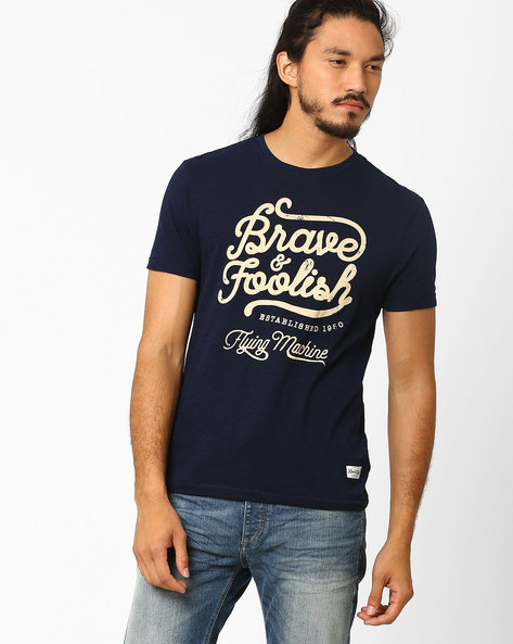 Graphic Print Cotton T-shirt By FLYING MACHINE ( Assorted )