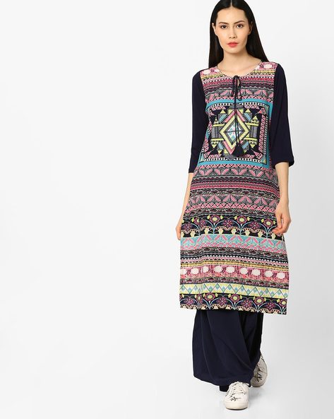 Printed Straight Kurta With Tie-Up By Melange By Lifestyle ( Blue )