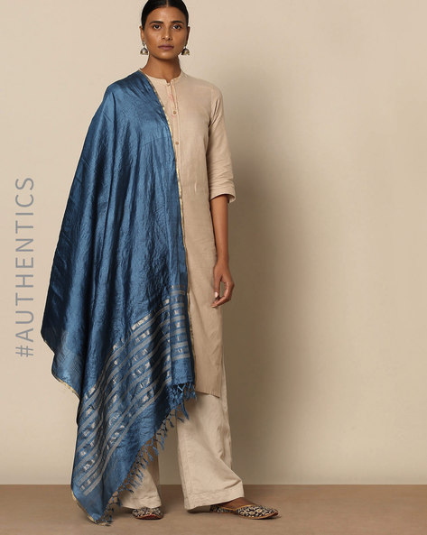 Handloom Pure Tussar Silk Jamdani Dupatta By Indie Picks ( Blue )