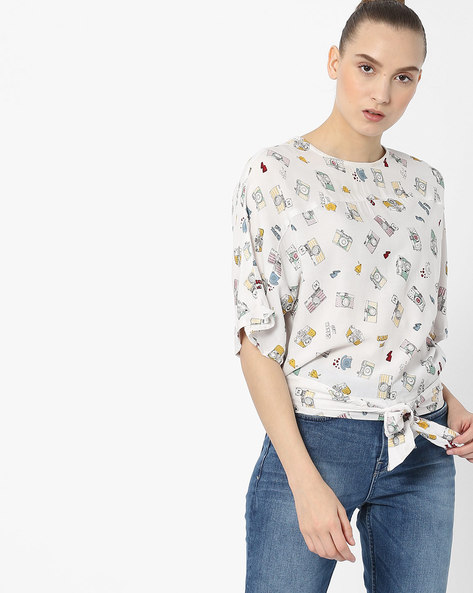 Printed Boxy Top With Tie-Up By Ginger By Lifestyle ( Offwhite )