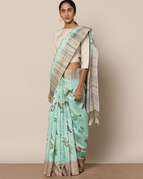 Textured Printed Designer Saree By Rudrakaashe-MSU ( Seagreen )