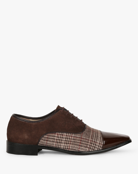 Lace-Up Formal Shoes With Contrast Panel By Modello Domani ( Brown )