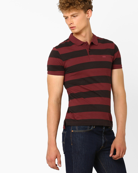Cotton Polo T-shirt With Stripes By LEVIS ( Red )