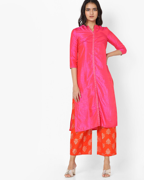 Straight Kurta With Printed Pants Set By Trishaa By Pantaloons ( Pink )