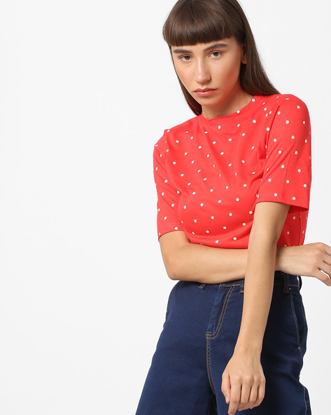Polka-Dot Top With Tie-Up By BOSSINI ( Red )