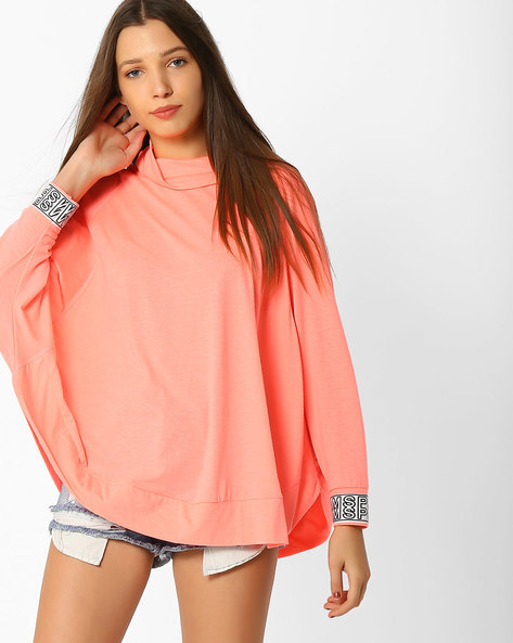 Turtle-Neck Top With Batwing Sleeves By Teamspirit ( Orange )