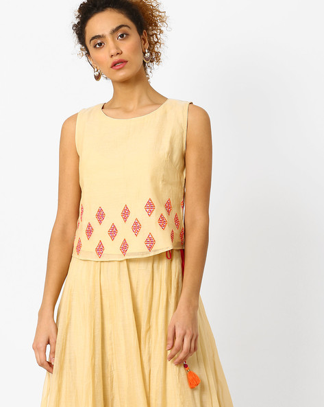 Sleeveless Top With Embroidery By AJIO ( Offwhite )