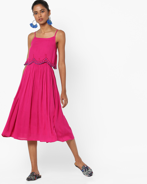 Strappy A-line Midi Dress By AJIO ( Pink )