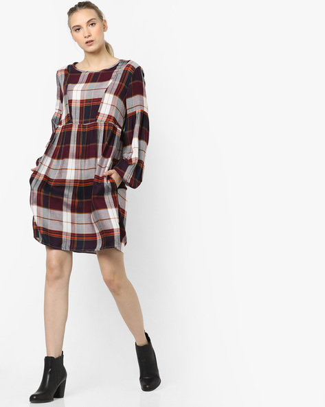 Checked Shift Dress By Only ( Offwhite )