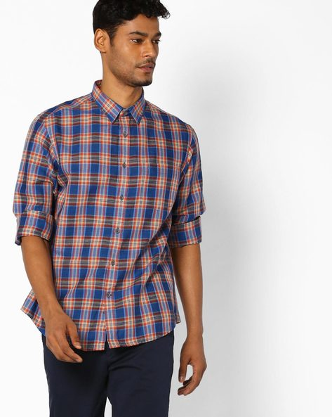 Checked Shirt With Patch Pocket By INDIAN TERRAIN ( Blue )