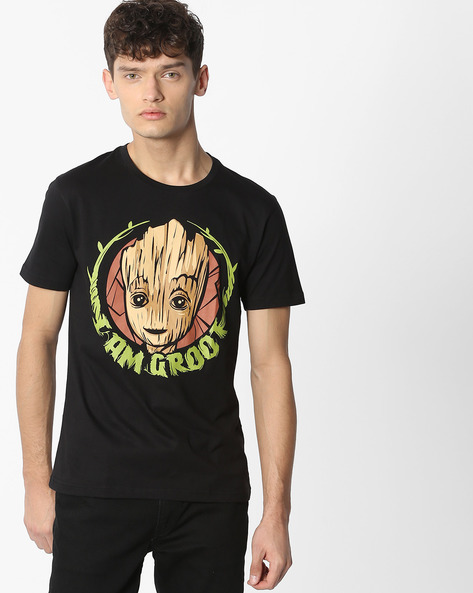 GOTG Print Crew-Neck T-shirt By Souled Store ( Black )
