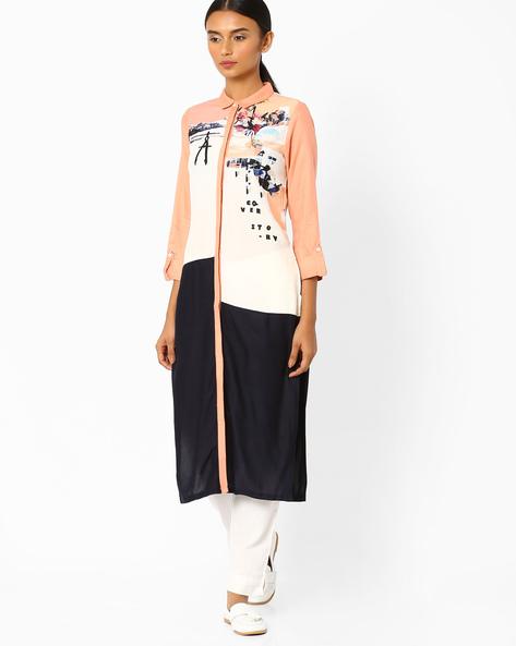 Colourblock Kurta With Shirt Collar By W ( White )