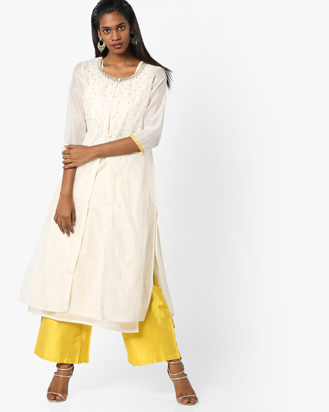 Layered Kurta With Palazzo Pants By AJIO ( Offwhite )