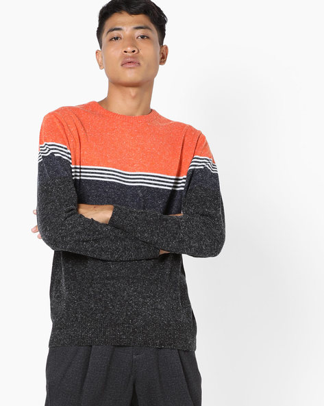 Speckled Crew-Neck Pullover By Teamspirit ( Orange )