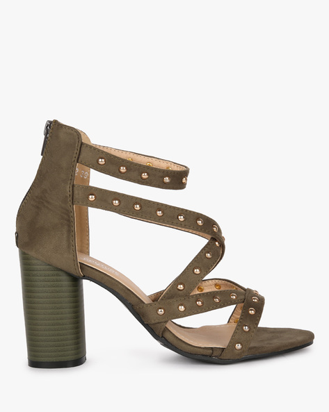 Studded Strappy Block-Heeled Sandals By MFT Couture ( Olive )