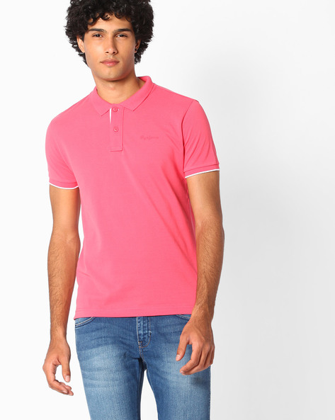 Regular Fit Polo T-shirt By Pepe Jeans ( Pink )