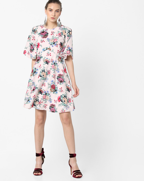 Floral Print A-line Dress By Femella ( Pink )