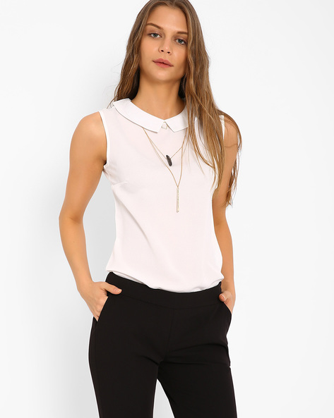 Sleeveless Top With Pointed Flat Collar By AJIO ( White )