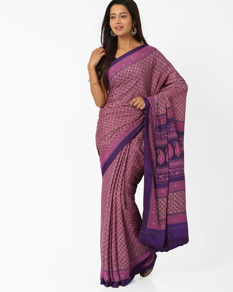 Printed Crepe Saree By Majestic Silk ( Purple )