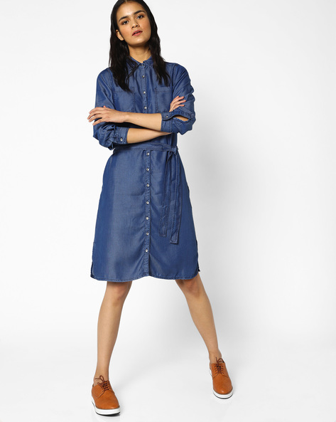Denim Shirt Dress With Waist Tie-Up By PE WW Denim ( Indigo )