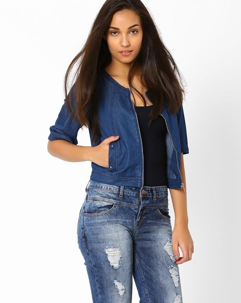 Cropped Denim Jacket By AJIO ( Blue )