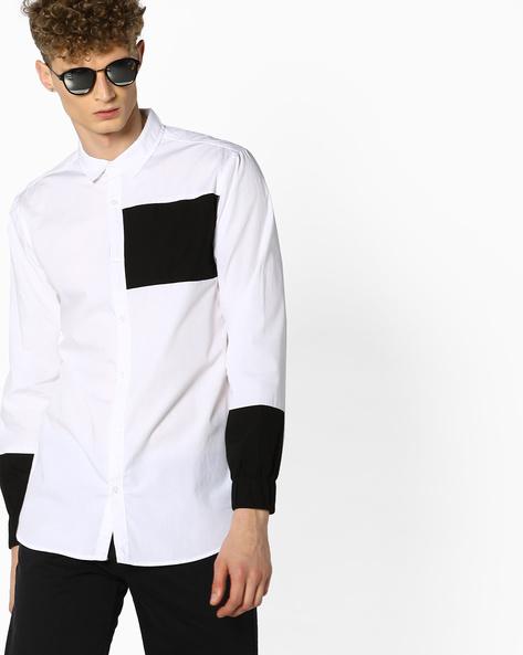 Shirt With Elasticated Sleeve Cuffs By ADAMO LONDON ( Multi )