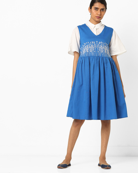 Embroidered Flared Dress With Shirt By AJIO ( Blue )