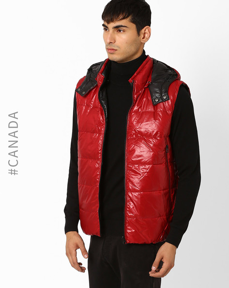 Reversible Hooded Quilted Jacket By Point Zero ( Rubyblack )