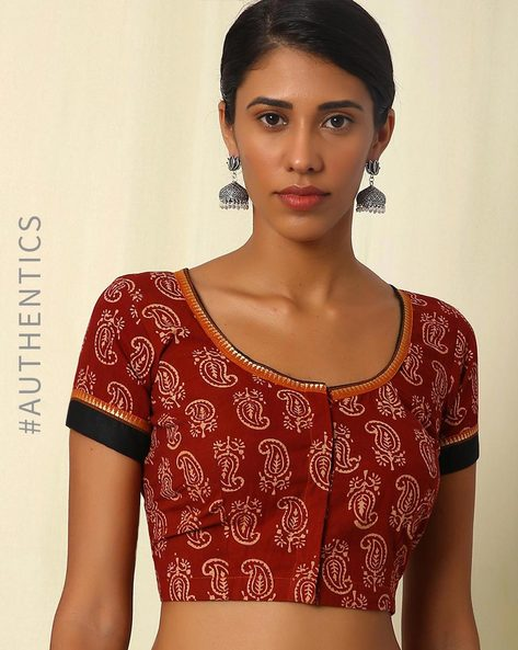 Handblock Print Hand Embroidered Cotton Blouse By Indie Picks ( Maroon )