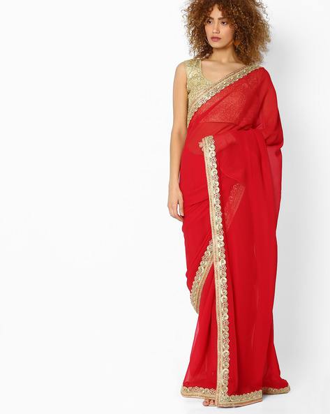 Saree With Embroidered Border By Majestic Silk ( Maroon )