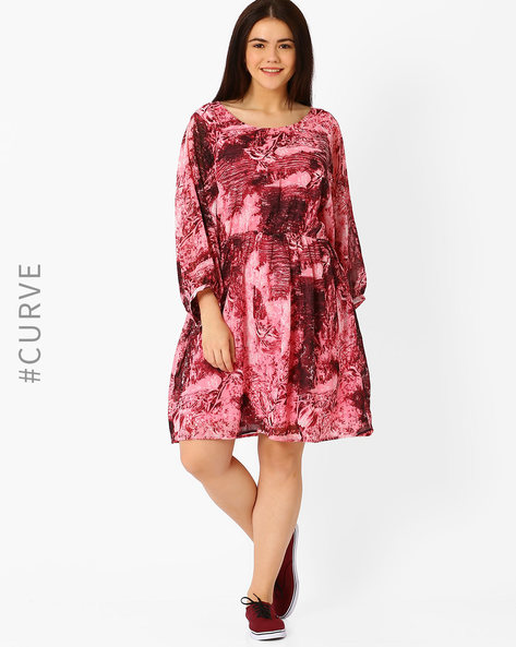 Printed Fit & Flare Dress By Oxolloxo ( Pink )