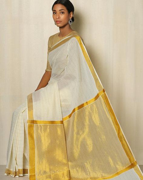 Kerala Kasavu Cotton Saree By Indie Picks ( Offwhite ) - 460041806001