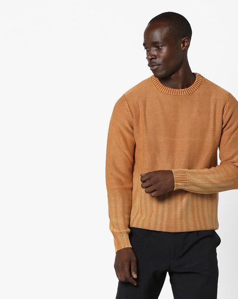 Pullover With Ribbed Hems By AJIO ( Olive )